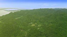 Flycam在惊人的绿色山上移动在河附近 股票视频