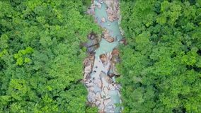 Flycam moves high above narrow river in tropical rainforest. Flycam moves high above tropical rainforest with curving narrow foamy river with waterfalls cascade stock footage
