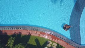 Flycam moves from palm tops across pool stock footage