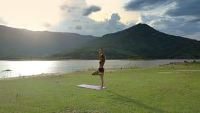 Flycam muestra a la muchacha en actitud de la yoga en el banco del lago grass verde