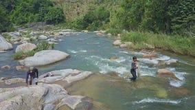 Flycam Pokazuje faceta kolekcjonowania sieć rzut w rzekę wśród gwałtownych zdjęcie wideo