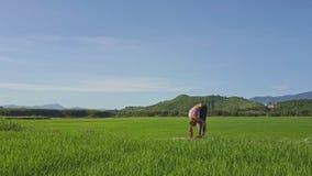 Flycam showflicka som fri gör yoga mot avlägsen himmel för kullar lager videofilmer