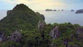 Flycambewegingen over Berg en Gelukkige Toeristen op Bovenkant stock videobeelden