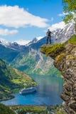 Flydalsjuvet på den Geranger fjorden, Norge Arkivbild