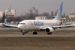 Flydubai Boeing 737 Next Gen aircraft running on the runway Royalty Free Stock Photo