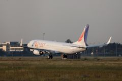 FlyEgypt, low cost charter landing. On runway royalty free stock photo