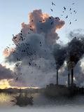 flyende förorening Fotografering för Bildbyråer