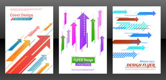 Flyer with arrows, stripes motion and dynamics. Abstract arrows vector brochure template. Flyer with arrows, stripes motion and dynamics. Cover layout with flat Stock Photos