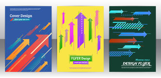 Flyer with arrows, stripes motion and dynamics. Abstract arrows vector brochure template. Flyer with arrows, stripes motion and dynamics. Cover layout with flat Royalty Free Stock Photos