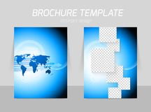 Flyer back and front template design. With arrows squares and world map stock illustration