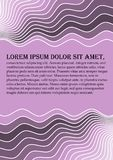 Flyer background abstract in light purple color with horizontal wavy lines and dark areas, place for own message Royalty Free Stock Image
