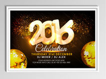 Flyer or Banner design for New Year 2016. Creative Flyer or Banner design with 3D text 2016, golden disco balls and fireworks for New Year Party celebration stock illustration