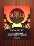 Flyer or banner for End of Summer Party. Stock Photos