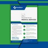 Medical flyer green and blue color vector illustration