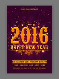 Flyer or Banner for New Year's 2016 Eve Party celebration. Elegant Flyer, Banner or Pamphlet with glossy snowflakes for Happy New Year 2016 celebration Stock Photos
