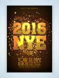 Flyer or Banner for New Year's 2016 Eve Party celebration. Royalty Free Stock Images
