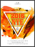 Flyer or Banner for New Year's 2016 Eve Party celebration. Stylish Flyer, Banner or Pamphlet with colorful paint stroke and fireworks for Happy New Year's 2016 Royalty Free Illustration