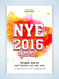 Flyer or Banner for New Year's 2016 Eve Party celebration. Stylish Flyer, Banner or Pamphlet with colorful splash for Happy New Year's 2016 Eve Party Stock Illustration