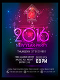 Flyer or Banner for New Year's Eve Party. Elegant shiny Flyer, Banner or Pamphlet for Happy New Year's 2016 Eve Party celebration Royalty Free Illustration