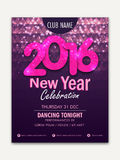 Flyer, Banner or Pamphlet for Happy New Year. Creative shiny Flyer, Banner or Pamphlet design with stylish text 2016 for Happy New Year celebration Stock Image