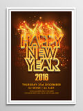 Flyer, Banner or Pamphlet for New Year 2016. Creative 3D text Happy New Year in fire on fireworks decorated background, can be used as Flyer, Banner or Pamphlet vector illustration