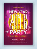 Flyer, banner or pamphlet for New Year Party. Creative flyer, banner or pamphlet design decorated with golden Disco Ball on stylish shiny background for New stock illustration