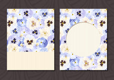 Flyer with blue and white pansy flowers. Vector eps-10. Royalty Free Stock Photo