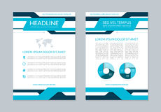 Flyer brochure annual report layout template. A4 size. Front and back page. Vector background with business icons and infographic elements. Can be used for royalty free illustration