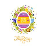 Flyer brochure banner with inscription typography Happy Easter on colored yellow egg Royalty Free Stock Images