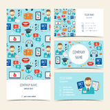 Flyer, brochure and business cards for foreign language courses and schools. Set of promotional products. Flat design. Vector Royalty Free Stock Photos