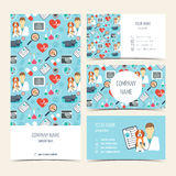Flyer, brochure and business cards for vet clinic. Pet care. Set of promotional products. Flat design. Vector Royalty Free Stock Images