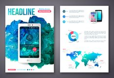 Flyer or Brochure Business Design Template. Painted Abstract Modern Background. Mobile Technologies, Applications and Online Services Infographic Concept Stock Photography
