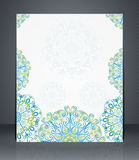 Flyer, brochure or cover layout design template with floral pattern Stock Photo
