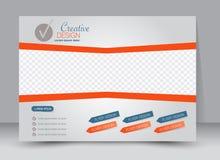 Flyer, brochure, magazine cover template design landscape orientation. For education, presentation, website. Blue and orange color. Editable vector illustration Stock Image