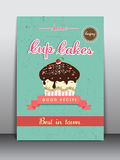 Flyer, brochure or template for cup cakes shop. Stock Image