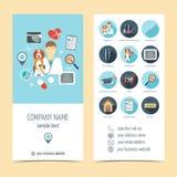 Flyer, brochure for vet clinic. Pet care. Set of promotional products. Flat design. Vector. Illustration Stock Image