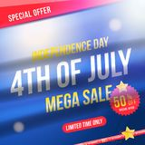 Flyer Celebrate Happy 4th of July - Independence Day. Mega sale with sticker 50 off. National American holiday event. Flat Vector. Illustration EPS10 stock illustration