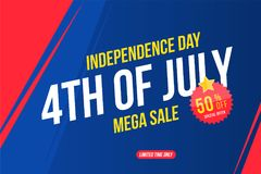 Flyer Celebrate Happy 4th of July - Independence Day. Mega sale with sticker 50 off. National American holiday event. Flat Vector illustration EPS10 stock illustration
