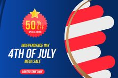 Flyer Celebrate Happy 4th of July - Independence Day. Mega sale with sticker 70 off. National American holiday event. Flat Vector. Illustration EPS10 stock illustration