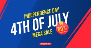 Flyer Celebrate Happy 4th of July - Independence Day. Mega sale with sticker 50 off. National American holiday event. Flat Vector. Illustration EPS10 vector illustration