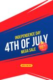 Flyer Celebrate Happy 4th of July - Independence Day. Mega sale with sticker 50 off. National American holiday event. Flat Vector. Illustration EPS10 royalty free illustration
