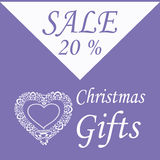 Flyer for Christmas gifts with decorative heart. And 20 percent discount on purple background Stock Photos
