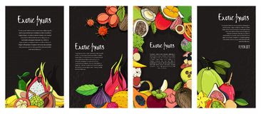 Flyer collection with exotic tropical fruits. Black vertical backgrounds with place for text. Royalty Free Stock Photo
