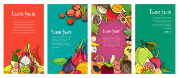 Flyer collection with exotic tropical fruits. Vertical backgrounds with place for text. stock illustration