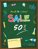 Flyer cover back to school sale promotion template. With stationery elements and copy space for promotion details vector illustration