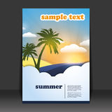 Flyer or Cover Design. For Summer Travel  - Illustration in freely scalable and editable vector format Royalty Free Stock Images