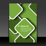 Flyer or Cover Design. Abstract Green Flyer or Cover Design with Round Squares - Illustration in Editable Vector Format Stock Photo