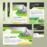 Flyer, cover design, business brochure and card. Flyer, cover design of the companys annual business report, business card, presentation template with green stock photography