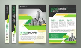 Flyer, cover design, business brochure. Flyer, cover design of the companys annual business report, magazine page, presentation template with green elements and stock photography