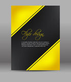 Flyer or cover design, dark background with yellow pattern Royalty Free Stock Photos